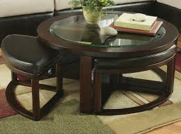 Glass Round Glass Coffee Table With Stools Roselawnlutheran