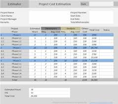 Excel Costing Template Project Cost Estimator Excel Template Free