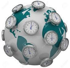 many clocks around the world to illustrate international time