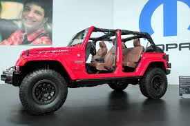 wrangler jeep pink jeep wrangler red rock concept brings moab spirit to sema