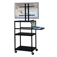 vti fpc5434e mobile cart with 42 inch tv mount and pull out shelf