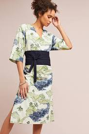 whit belted floral kimono dress anthropologie