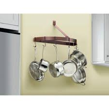 oil rubbed bronze pot rack with lights cuisinart chef s classic cookware half circle wall rack crhc 22orb