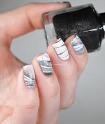 white u0026 black water marble nails lacquered bits