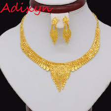 gold necklace india images Adixyn african exquisite gold necklace earrings jewelry set for jpg