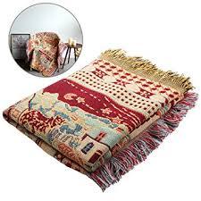 plaid coton pour canapé 130 x 180cm plaid tissé en 100 fil de coton avec franges