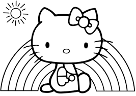 kitty rainbow coloring free printable coloring pages