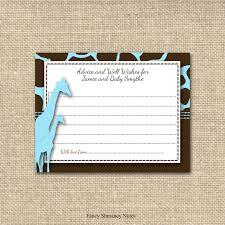 giraffe baby shower wish cards guest book alternative advice for
