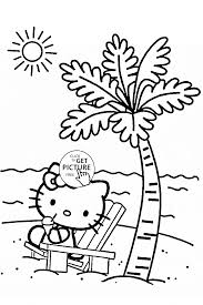 hello kitty at the beach coloring page for kids for girls