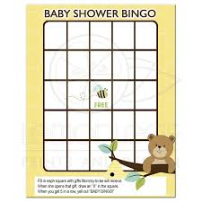 baby shower game bear and bumble bee bingo card