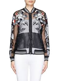 3 1 phillip lim tattoo embroidery organza jacket in black lyst