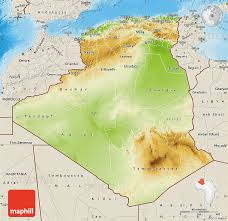 algeria map physical map of algeria shaded relief outside