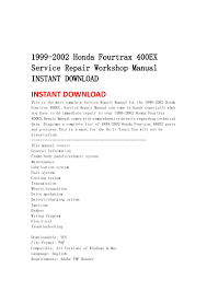 1999 2002 honda fourtrax 400 ex service repair workshop manual instan u2026