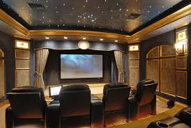 Home Theatre Wall Decor Traditional Home Theater With Crown Molding Sound Absorption