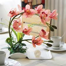 artificial flowers for home decoration decorative flowers artificial bonsai with ceramic dish for home