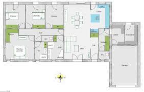 plan de maison de plain pied avec 4 chambres maison rectangle 4 chambres avec avis plan maison plain pied 126m2