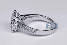 womens engagement rings womens diamond cluster engagement ring 18k white gold 1 00 ct