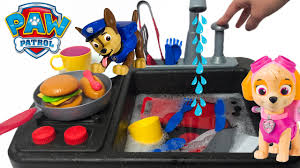 paw patrol chase u0026 skye cooking dinner kids kitchen faucet