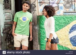Cool Brazil Flag Young Brazilian Couple Standing In Front Of Brazilian Flag Stock