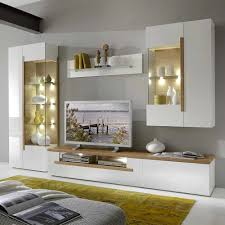 Wohnzimmerschrank Mit Bar Wohnwand Eiche Weiß Attraktive Auf Wohnzimmer Ideen Zusammen Mit 4