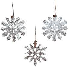 rustic tin white sparkle snowflake ornaments set of 12