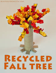 how to make a fall tree out of recycled materialsblissfully