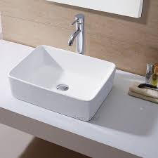 Countertop Bathroom Sinks Bathroom Stone Vessel Sinks With White Countertop Design And Grey