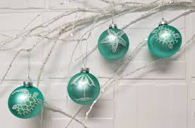 coastal ornaments painted aqua ornaments
