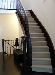 interior pin dot runner stairs on brown wooden tread and white