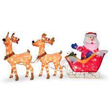 all outdoor decorations wayfair santa with 2 deer sleigh