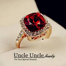 red jewelry rings images Rose gold color royal design crystal surrounded square red jewelry jpg