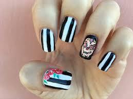 sugar skull nail art tutorial calavera halloween nails 4 youtube