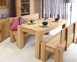 furniture rectangle solid wood dinning table and bench with back