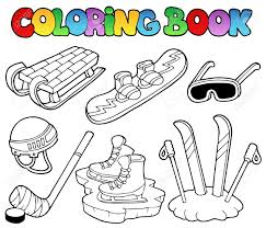 coloring book winter sports gear vector illustration royalty