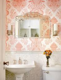 pink damask wallpaper traditional bathroom alan design studio