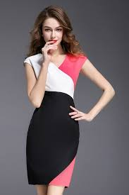 80 99 black and white color block knee length dress