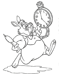 alice wonderland white rabbit coloring pages printable