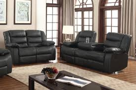 Livingroom Pc by Layla 2 Pc Black Faux Leather Living Room Reclining Sofa And