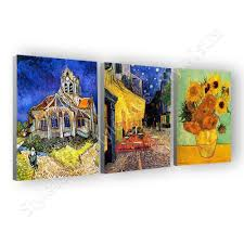 vincent van gogh bedroom vincent van gogh bedroom starry night irises set of 3 canvas