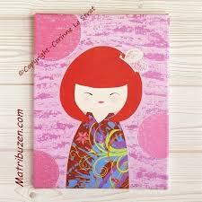 cadre pour chambre fille tableau enfant bébé kokeshi poupée japonaise illustration chambre d