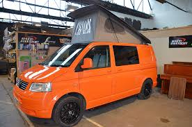 volkswagen orange lambo orange t5 camper welsh coast campers