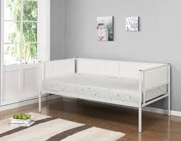 twin black or white upholstered faux leather metal day bed frame