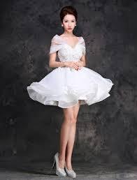 2016 deep v neck backless white lace short wedding dress with sash