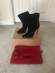 genuine christian louboutin ishtar 100 black suede boots