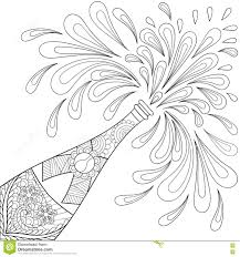 champagne explosion bottle zentangle style freehand sketch for