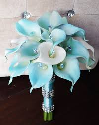 silk flowers for wedding silk flower wedding bouquet aqua or aruba blue calla lilies