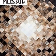 Patchwork Cowhide Nordic By Mosaic Rugs Luxury Handcrafted Black Brown U0026 White