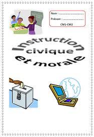 Page de présentation pour le cahier dinstruction civique et morale