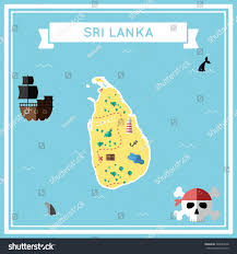 Map Of Sri Lanka Sri Lanka Flat Treasure Map Colorful Stock Vector 368943548