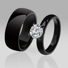 black wedding rings his and hers anillos de compromiso negros para chicas con buen gusto
